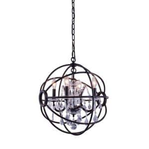 Timeless Home 17 in. L x 17 in. W x 19.5 in. H 4-Light Dark Bronze with Clear Crystal Contemporary Pendant