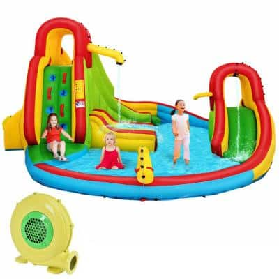 480-Watt Kids Gift Inflatable Water Slide Park Bounce House with Blower