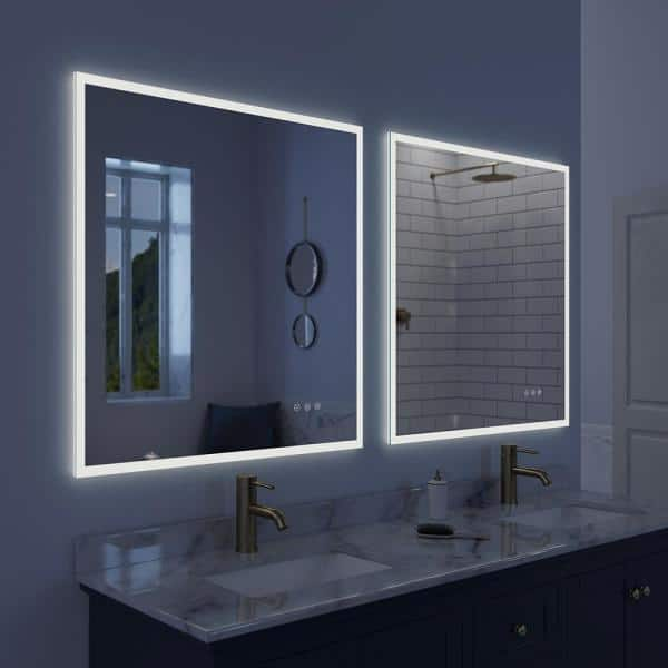 Lucent 34 In X 36 Frameless Wall, Home Depot Bathroom Mirror Led