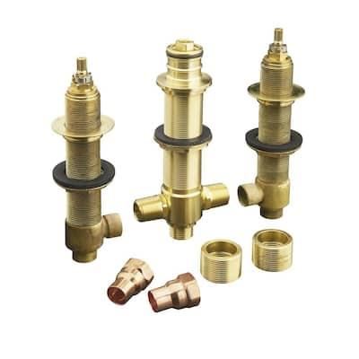 "1/2"" ceramic high-flow valve system with diverter for finished-deck or rim-mount installation only"