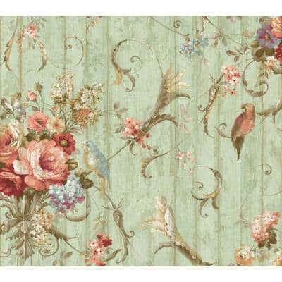 Parrots With Floral Paper Pre-Pasted Strippable Wallpaper Roll (Covers 60.75 Sq. Ft.)