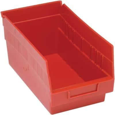 Store-More 6 in. Shelf 8 Qt. Storage Tote in Red (30-Pack)