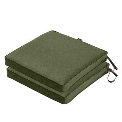 Montlake Heather Fern Green Square Outdoor Dining Chair Seat Cushion (2-Pack)