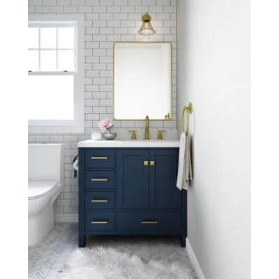 Cambridge 37 in. W x 22 in. D x 35 in. H Vanity in Midnight Blue with Quartz Vanity Top in White with Basin
