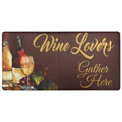 Cook N Comfort Brown Wine Lovers 20 in. x 39 in. Kitchen Mat