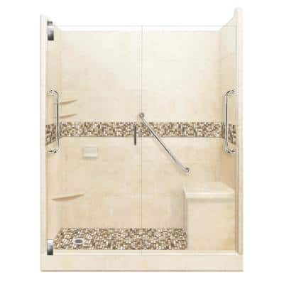 Roma Freedom Grand Hinged 32 in. x 60 in. x 80 in. Left Drain Alcove Shower Kit in Desert Sand and Satin Nickel Hardware