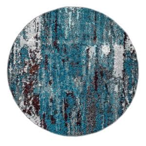 Haydee Abstract Blue 5 ft. Round Rug
