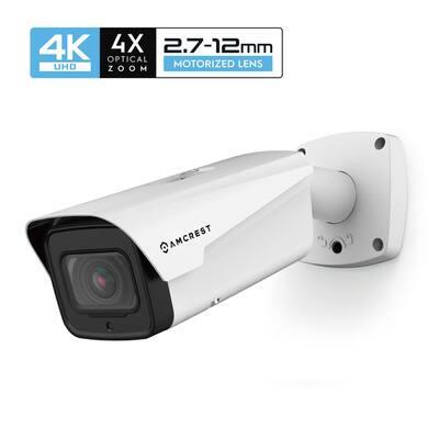 4K 8MP Outdoor IP POE Varifocal Bullet Security Camera, 4X Optical Zoom, 2.7mm 12mm Lens, IP67 Weatherproof, IK10