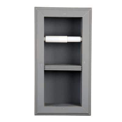 Newton Recessed Toilet Paper Holder 22 Holder in Primed Vertical Wall Hugger Frame in Gray