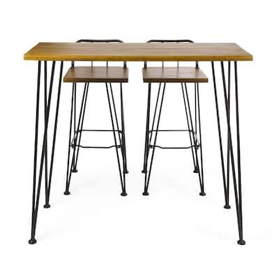 Teak Brown 3-Piece Wood and Metal Rectangular Outdoor Bar Height Dining Set