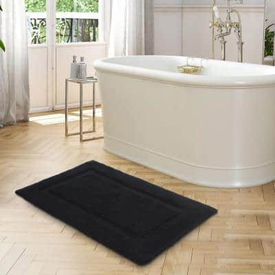 Solid Bordered Ringspun Cotton Xavier Navy 20 in. x 34 in. Bath Accent Rug