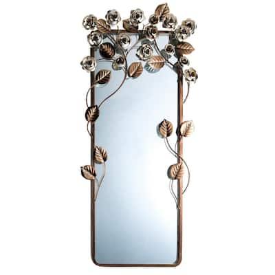 Medium Square Brown Art Deco Mirror (36 in. H x 17 in. W)