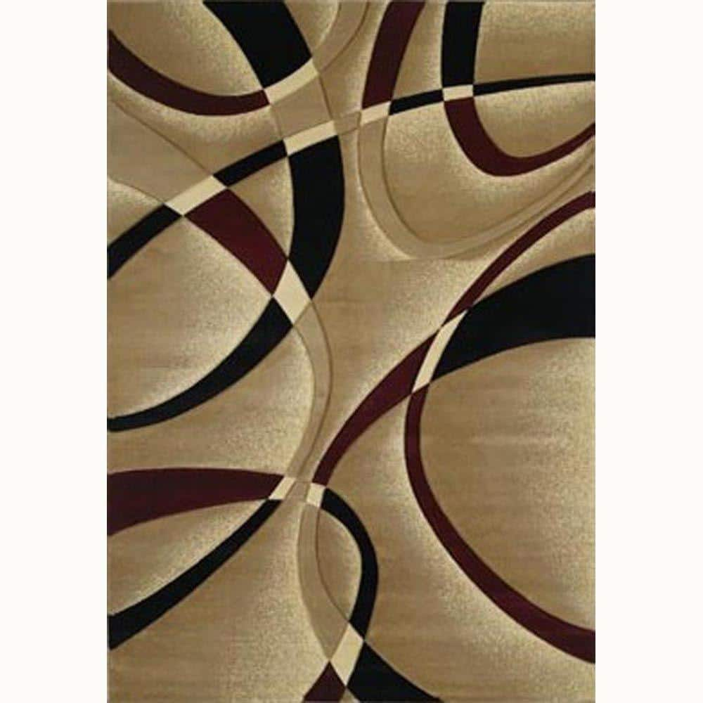 La Chic Burgundy 5 Ft X 8 Ft Contemporary Area Rug 510 21334 58 The Home Depot