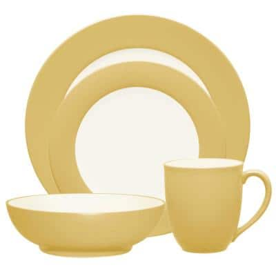 Colorwave Mustard Yellow Stoneware Rim 4-Piece Place Setting (Service for 1)