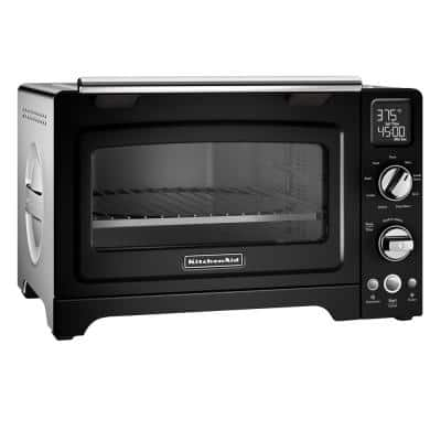 2000 W 4-Slice Onyx Black Convection Toaster Oven with Non-Stick Pan, Broiling Rack and Cooling Rack