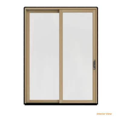 72 in. x 96 in. W-2500 Contemporary Black Clad Wood Right-Hand Full Lite Sliding Patio Door w/Unfinished Interior
