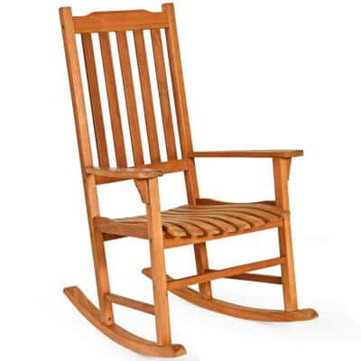 Wood High Back Outdoor Rocking Chair