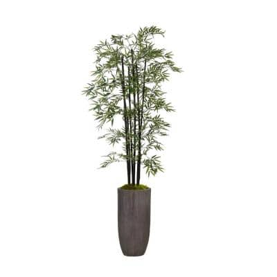 86 in. Tall Artificial Bamboo Tree Plants with Decorative Black Poles and Fiberstone Planter