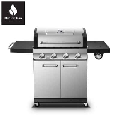 Premier 4-Burner Natural Gas Grill in Stainless Steel with Side Burner