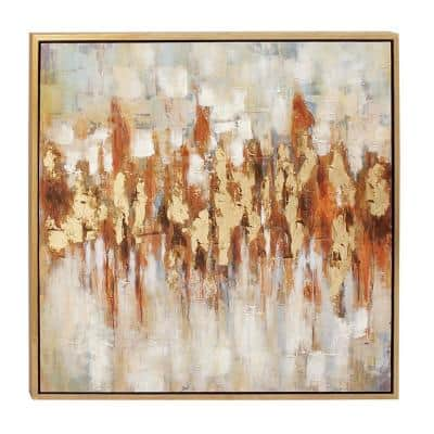 """39 in. x 39 in. """"Color Field Art"""" Painted Framed Canvas Wall Art"""