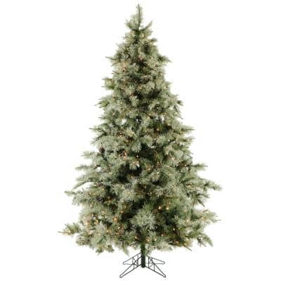 7.5 ft. Pre-Lit LED Glistening Pine Artificial Christmas Tree with Pine Cones 850 Clear Lights and EZ Connect