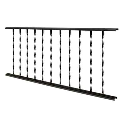 Traditional 4 ft. X 32 in. Black Steel Rail Panel