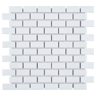 Hudson Subway White 12 in. x 12 in. Porcelain Mosaic Tile (10.11 sq. ft. / Case)