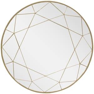 Medium Round Gold Modern Mirror (30 in. Diameter)