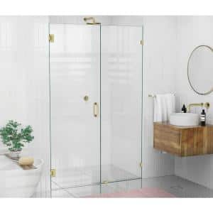 49.5 in. x 78 in. Frameless Pivot Wall Hinged Shower Door in Satin Brass
