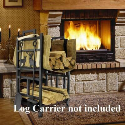 17.6 in. x 13 in. x 29 in. Heavy-Duty 2 Layer Firewood Rack Fireplace Log Holder with 4 Firepit Tools Outdoor Backyard