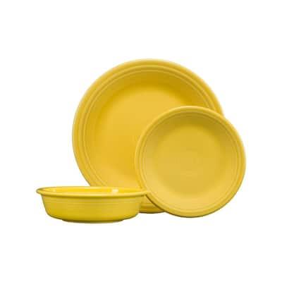 3-Piece Casual Sunflower Ceramic Dinnerware Set (Service for 1)