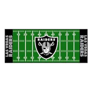 NFL - Las Vegas Raiders 30 in. x 72 in. Football Field Rug Runner Rug