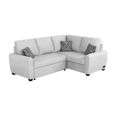 Shari 2-Piece Charcoal Channel Tufted- Curve L-Shaped Left Facing Sectional Sofa with Wood Legs