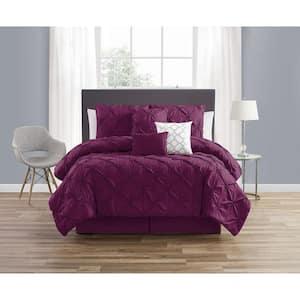 7-Piece Purple Smoked Circle Embellished Microfiber King Comforter Set