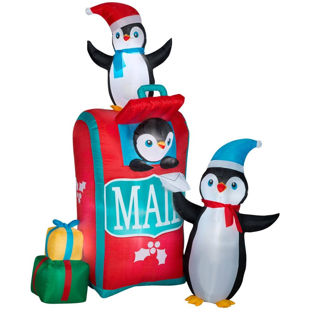 Airblown 6 5 Ft Inflatable Airblown Mailbox With Penguins Scene Christmas G 111873 The Home Depot