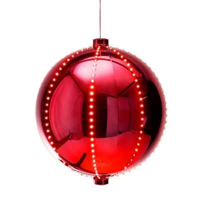 13 in. Tall Large Hanging Christmas Ball Ornament with LED Lights, Red
