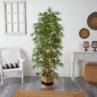 6 ft. Green Bamboo Artificial Tree with 1024 Bendable Branches in Handmade Natural Cotton Planter