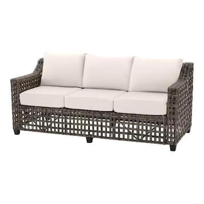 Briar Ridge Brown Wicker Outdoor Patio Sofa with CushionGuard Almond Tan Cushions
