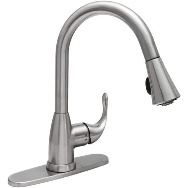 Glacier Bay Market Single Handle Pull Down Sprayer Kitchen Faucet In Stainless Steel Hd67551 1208d2 The Home Depot