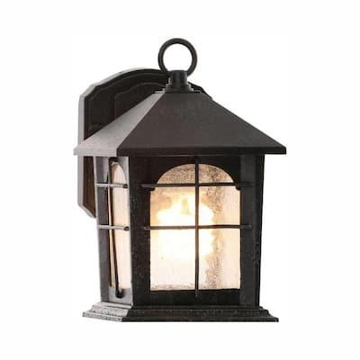 Brimfield 1-Light Aged Iron Outdoor Wall Lantern Sconce