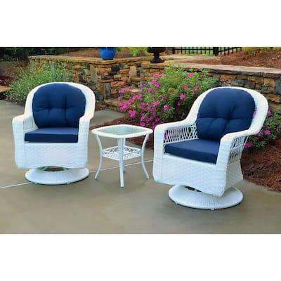 Biloxi White 3-Piece Wicker Outdoor Bistro Set with Navy Cushions