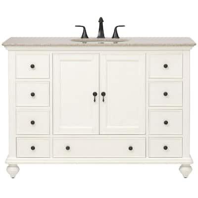 Newport 49 in. W x 21-1/2 in. D Bath Vanity in Ivory with Granite Vanity Top in Champagne