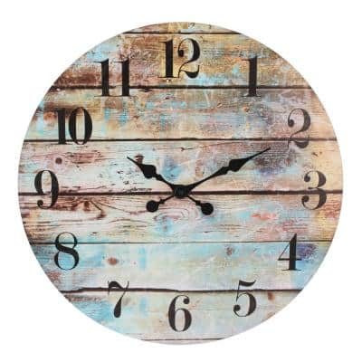 23.6 in. Blue-Brown Rustic Round Wall Clock