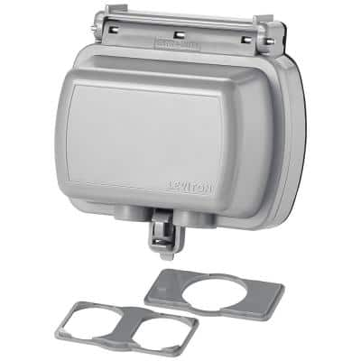 Decora/GFCI 1-Gang Extra Heavy Duty Raintight While-In-Use Device Mount Horizontal Cover with Lid, Gray