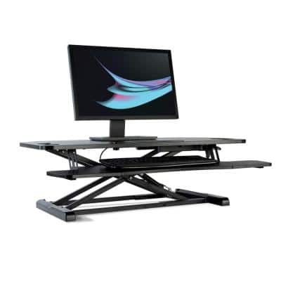 Black 37 in. Height Adjustable Extra-Large Standing Desk Converter Sit to Stand Dual Monitor Gas Spring Desktop Riser