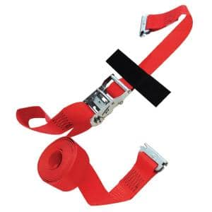 20 ft. x 2 in. Logistic Ratchet E-Strap with Hook and Loop Storage Fastener in Red
