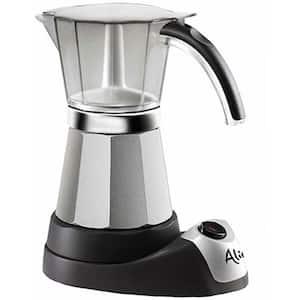 Italian Moka 6-Cup Black Stainless Steel Espresso Machine