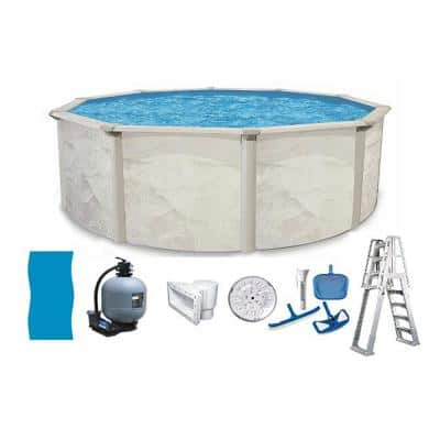Independence 24 ft. Round 52 in. D Metal Wall Above Ground Hard Side Swimming Pool Package
