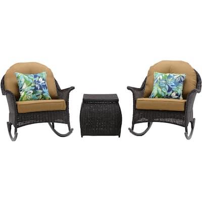 Saros 3-Piece Rocking Steel Outdoor Patio Conversation Set with Tan Cushions