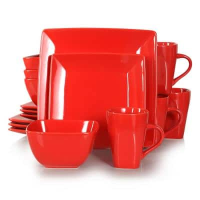 Series SOHO Porcelain Square Marry Red 16-Piece Dinnerware Sets with Dinner Dessert Plate Bowls Mugs(Service Set for 4)